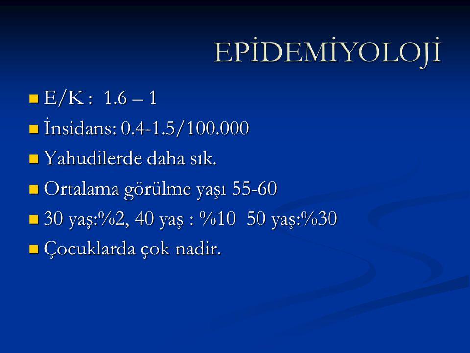 EPİDEMİYOLOJİ E/K : 1.6 – 1 İnsidans: 0.4-1.5/100.000