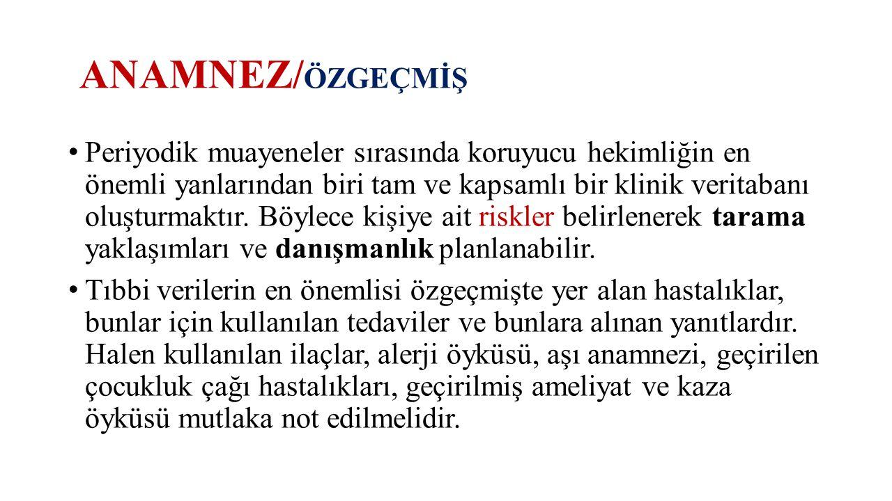 ANAMNEZ/ÖZGEÇMİŞ