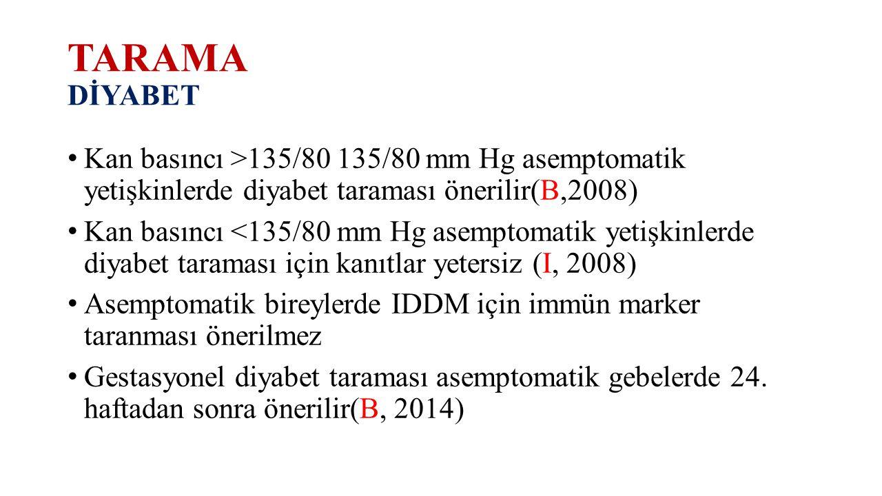 TARAMA DİYABET Kan basıncı >135/80 135/80 mm Hg asemptomatik yetişkinlerde diyabet taraması önerilir(B,2008)