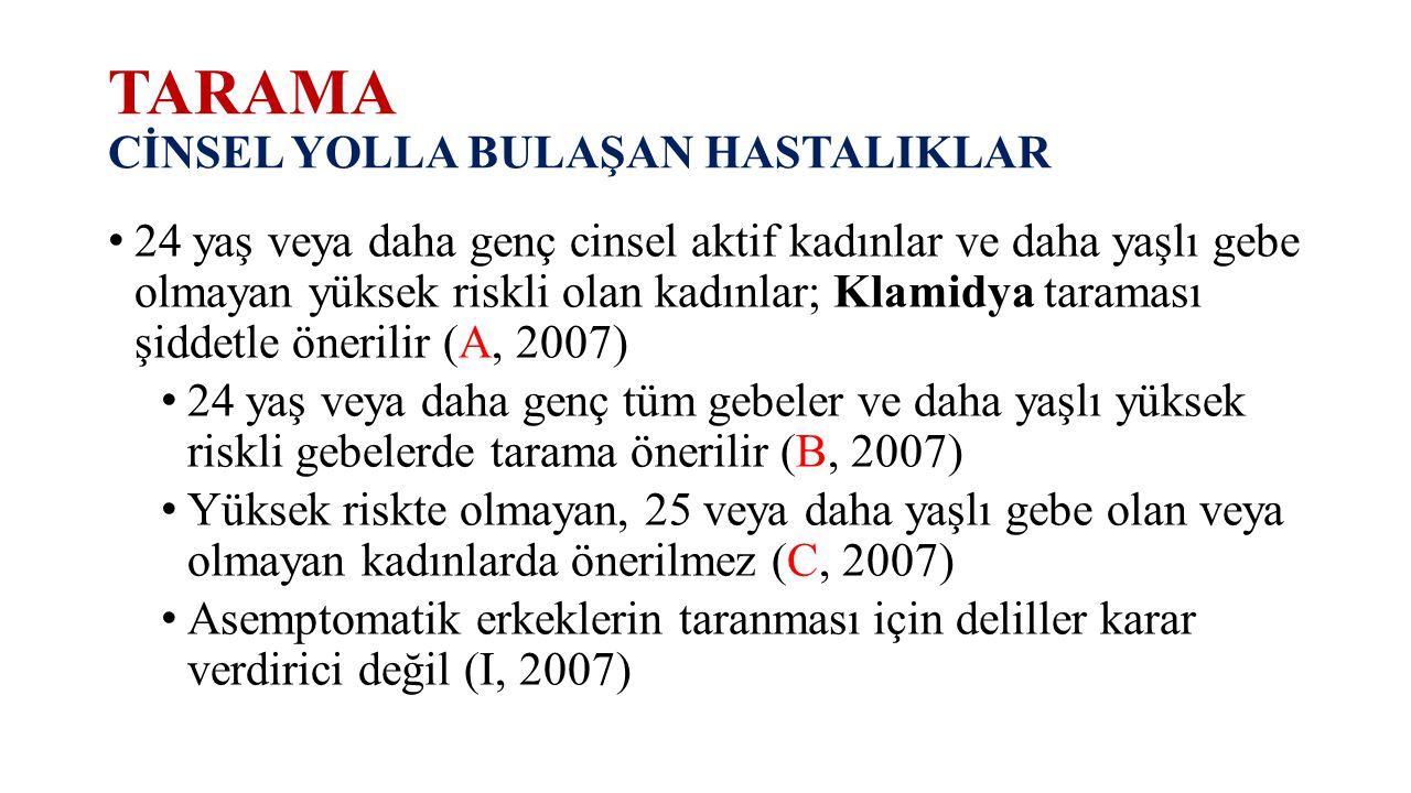 TARAMA CİNSEL YOLLA BULAŞAN HASTALIKLAR