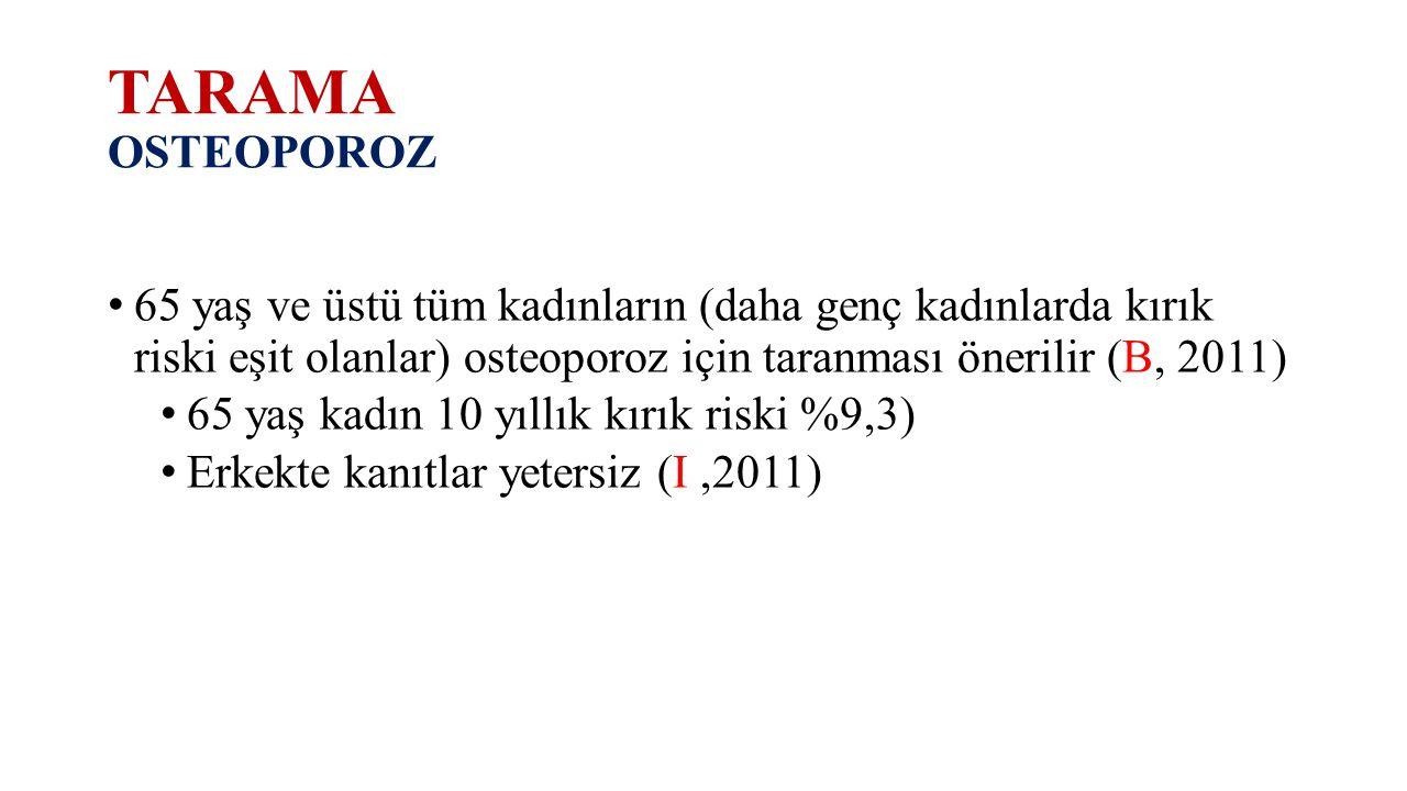 TARAMA OSTEOPOROZ 65 yaş ve üstü tüm kadınların (daha genç kadınlarda kırık riski eşit olanlar) osteoporoz için taranması önerilir (B, 2011)