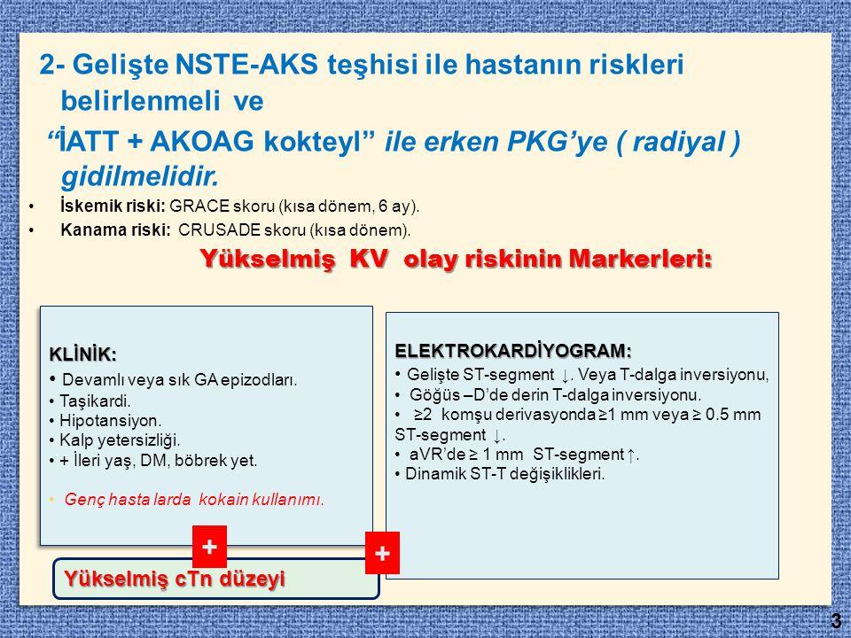 2- Gelişte NSTE-AKS teşhisi ile hastanın riskleri belirlenmeli ve