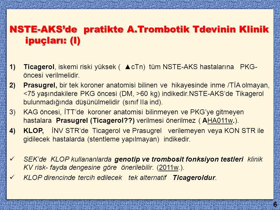 NSTE-AKS'de pratikte A.Trombotik Tdevinin Klinik ipuçları: (I)