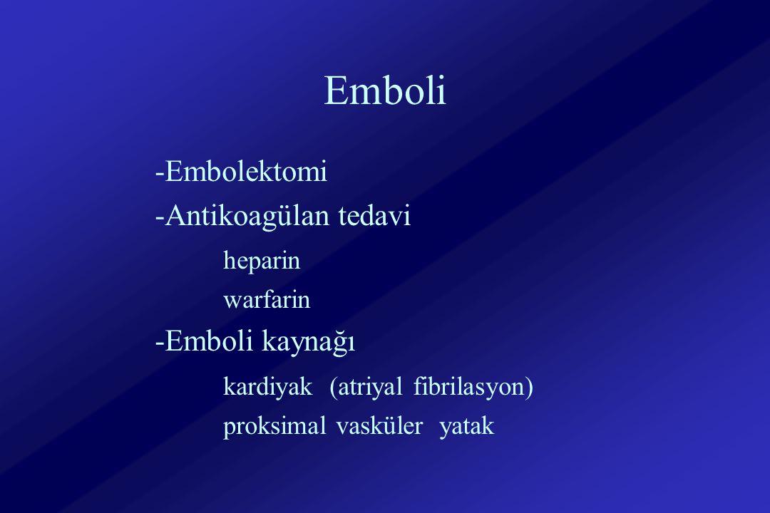 Emboli -Embolektomi -Antikoagülan tedavi heparin -Emboli kaynağı