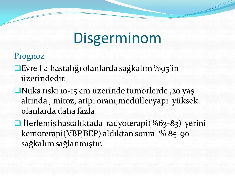 Disgerminom Prognoz. Evre I a hastalığı olanlarda sağkalım %95'in üzerindedir.