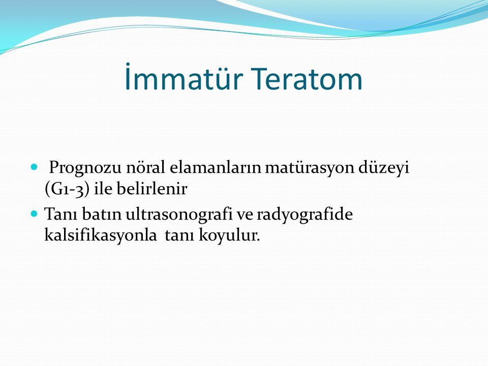 İmmatür Teratom Prognozu nöral elamanların matürasyon düzeyi (G1-3) ile belirlenir.