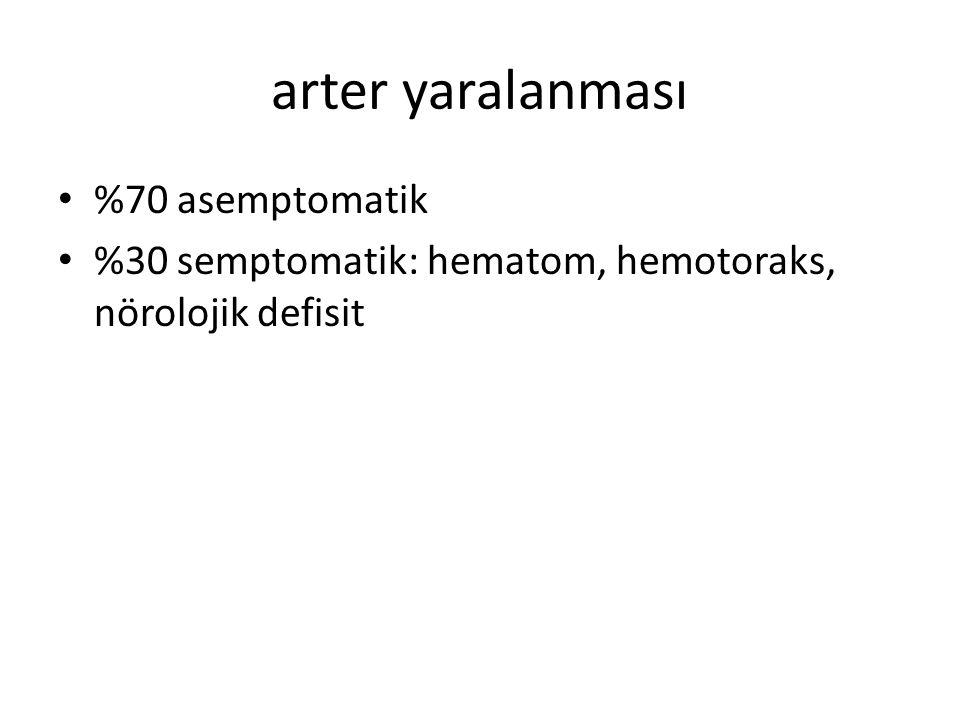 arter yaralanması %70 asemptomatik