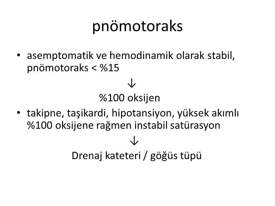 pnömotoraks asemptomatik ve hemodinamik olarak stabil, pnömotoraks < %15. ↓ %100 oksijen.