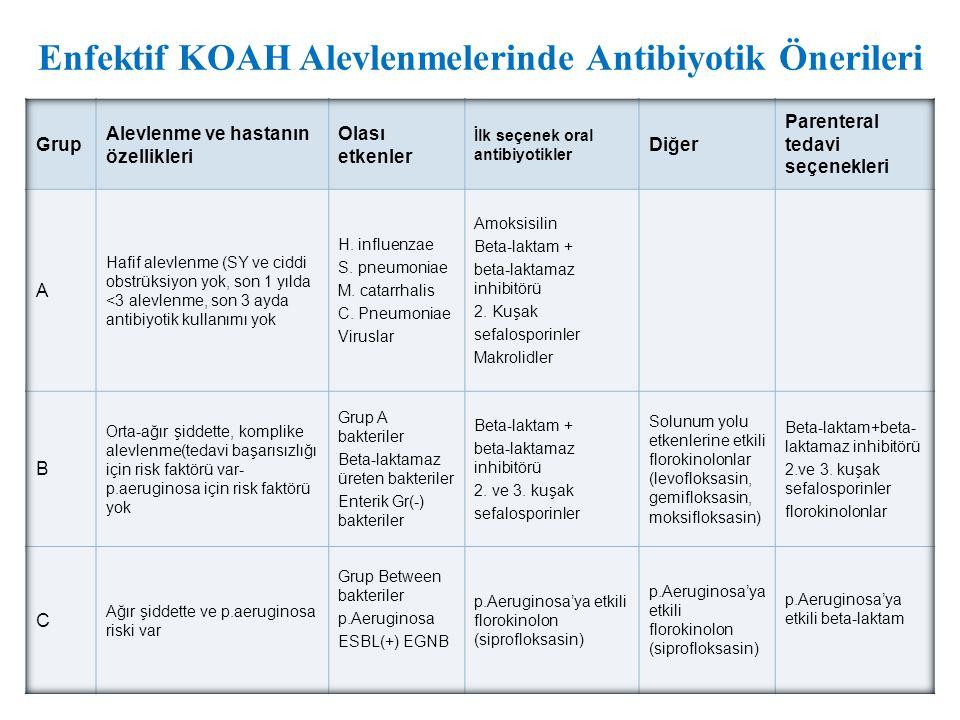 Enfektif KOAH Alevlenmelerinde Antibiyotik Önerileri