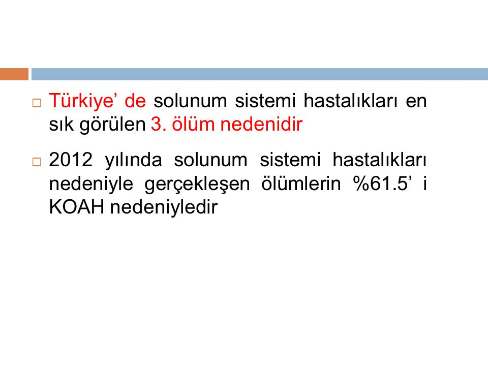 Türkiye' de solunum sistemi hastalıkları en sık görülen 3
