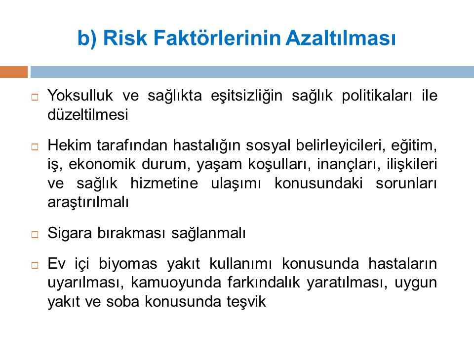 b) Risk Faktörlerinin Azaltılması