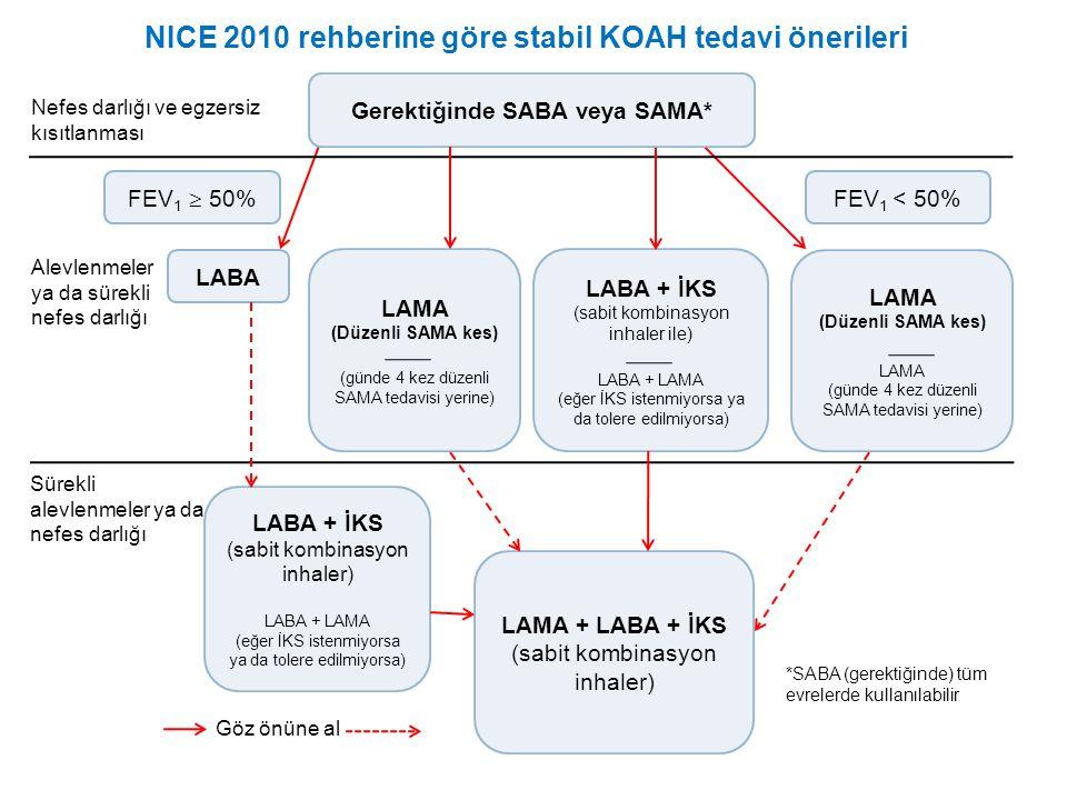 NICE 2010 rehberine göre stabil KOAH tedavi önerileri