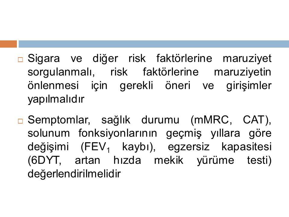Sigara ve diğer risk faktörlerine maruziyet sorgulanmalı, risk faktörlerine maruziyetin önlenmesi için gerekli öneri ve girişimler yapılmalıdır