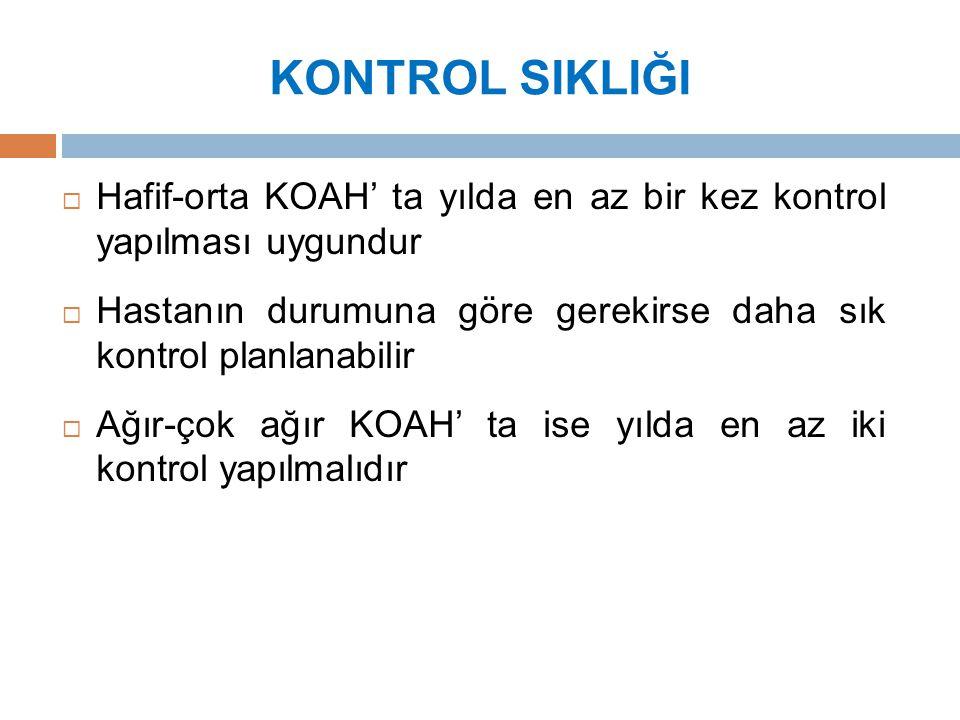 KONTROL SIKLIĞI Hafif-orta KOAH' ta yılda en az bir kez kontrol yapılması uygundur.