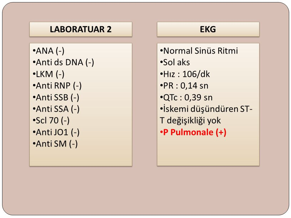 LABORATUAR 2 EKG. ANA (-) Anti ds DNA (-) LKM (-) Anti RNP (-) Anti SSB (-) Anti SSA (-) Scl 70 (-)