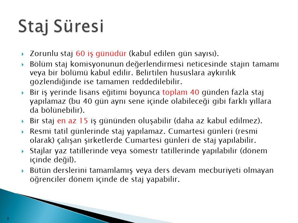 Staj Süresi Zorunlu staj 60 iş günüdür (kabul edilen gün sayısı).