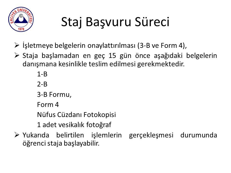 Staj Başvuru Süreci İşletmeye belgelerin onaylattırılması (3-B ve Form 4),