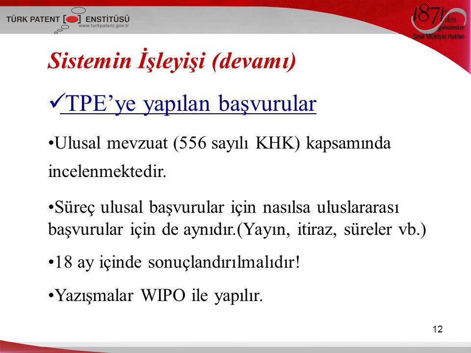 Sistemin İşleyişi (devamı) TPE'ye yapılan başvurular