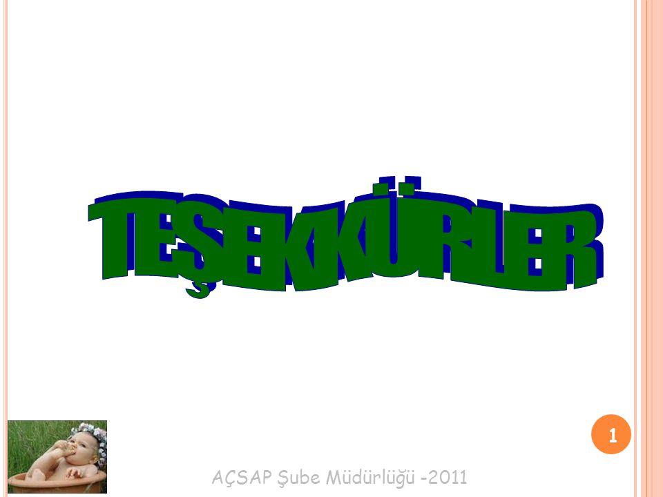 TEŞEKKÜRLER 1 AÇSAP Şube Müdürlüğü -2011