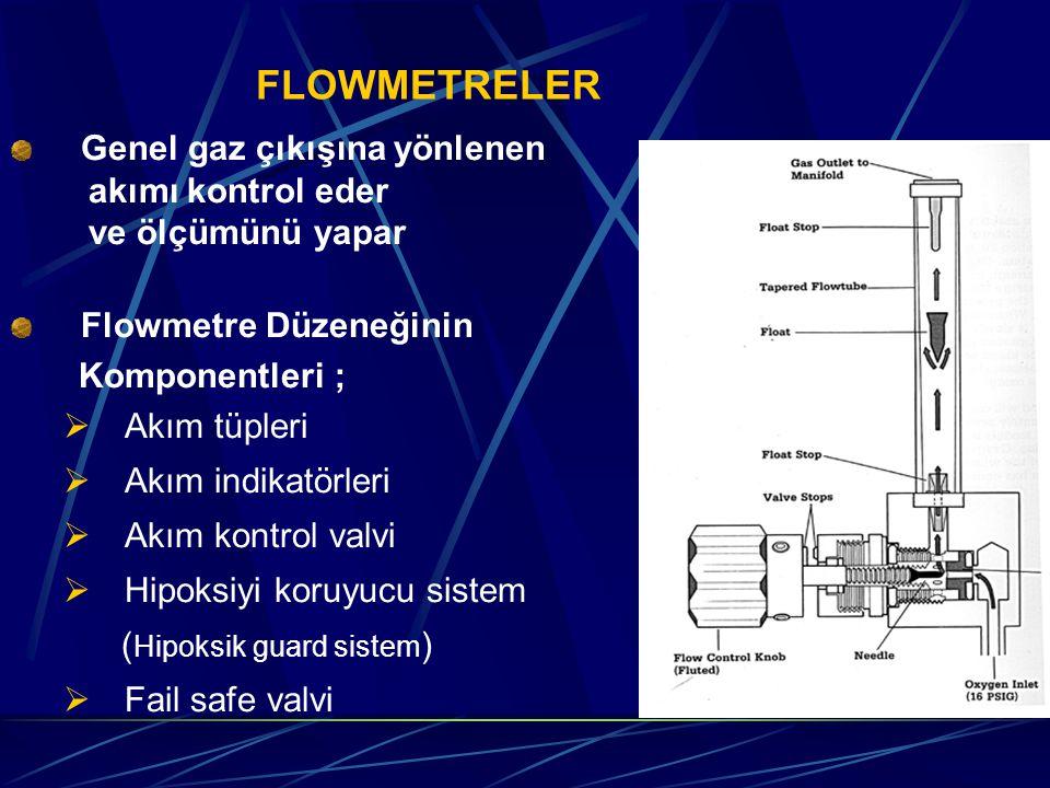 FLOWMETRELER Genel gaz çıkışına yönlenen akımı kontrol eder