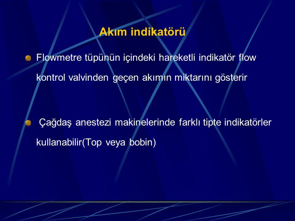 Akım indikatörü Flowmetre tüpünün içindeki hareketli indikatör flow kontrol valvinden geçen akımın miktarını gösterir.