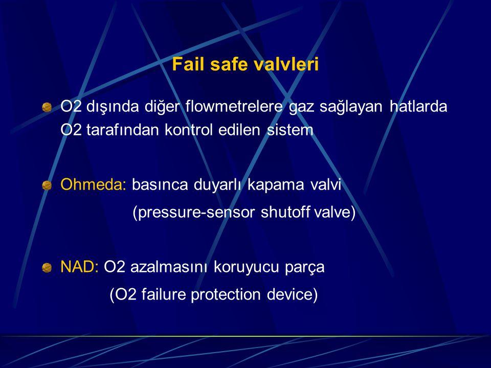 Fail safe valvleri O2 dışında diğer flowmetrelere gaz sağlayan hatlarda O2 tarafından kontrol edilen sistem.