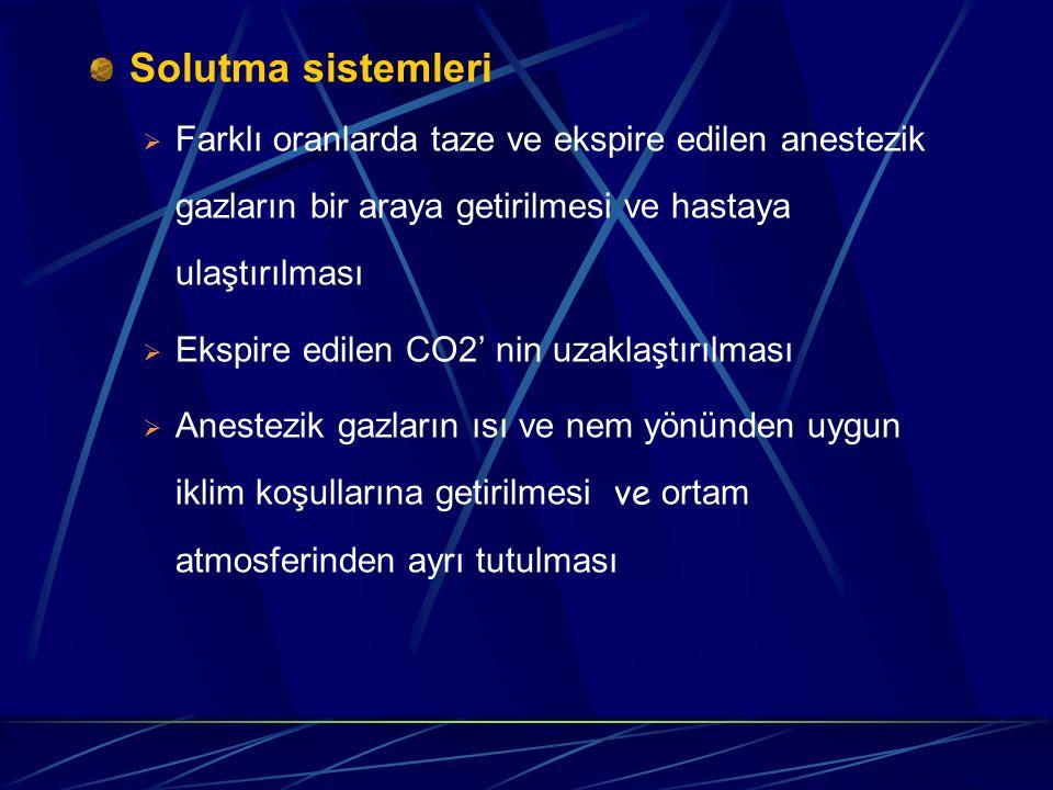 Solutma sistemleri Farklı oranlarda taze ve ekspire edilen anestezik gazların bir araya getirilmesi ve hastaya ulaştırılması.