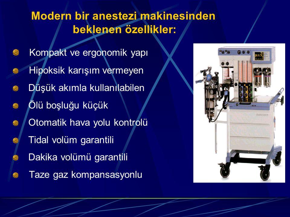 Modern bir anestezi makinesinden beklenen özellikler: