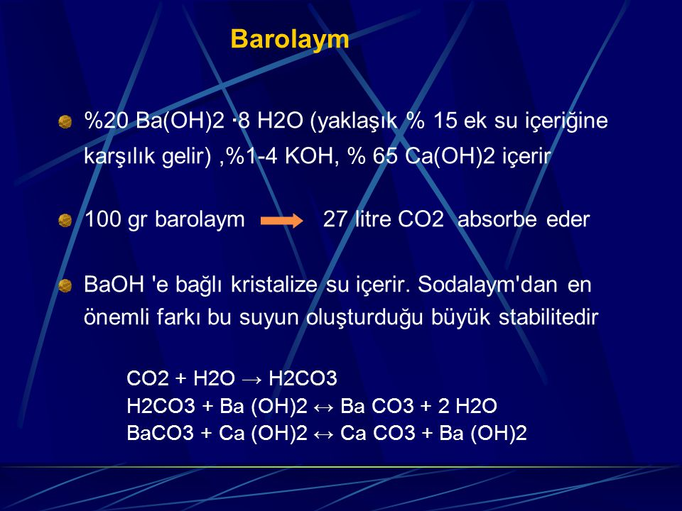 Barolaym %20 Ba(OH)2 ·8 H2O (yaklaşık % 15 ek su içeriğine karşılık gelir) ,%1-4 KOH, % 65 Ca(OH)2 içerir.