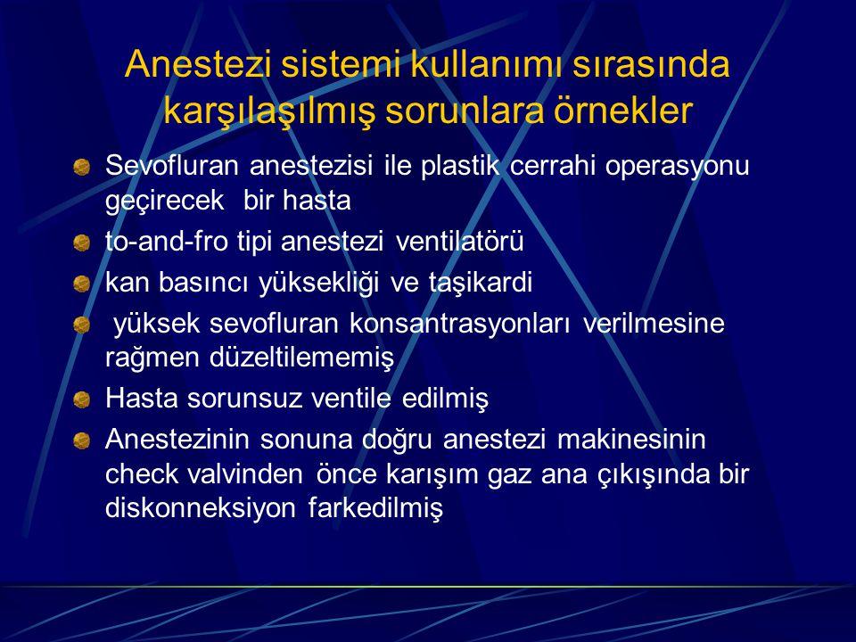 Anestezi sistemi kullanımı sırasında karşılaşılmış sorunlara örnekler