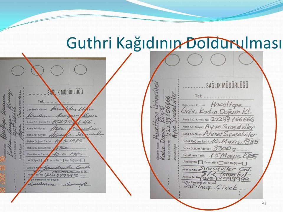 Guthri Kağıdının Doldurulması