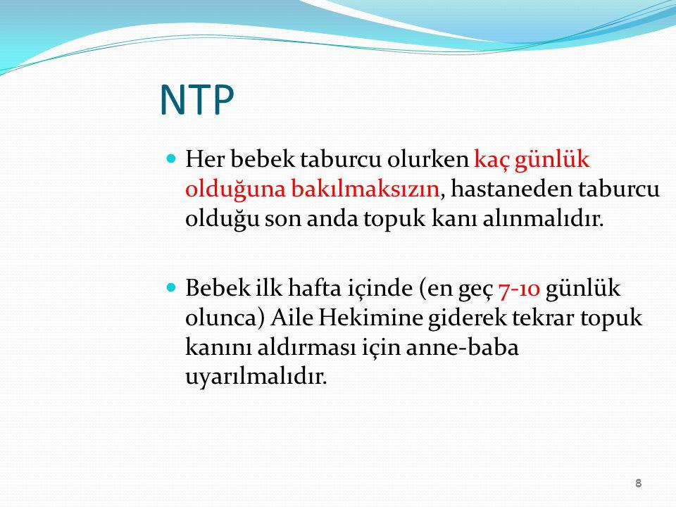 NTP Her bebek taburcu olurken kaç günlük olduğuna bakılmaksızın, hastaneden taburcu olduğu son anda topuk kanı alınmalıdır.