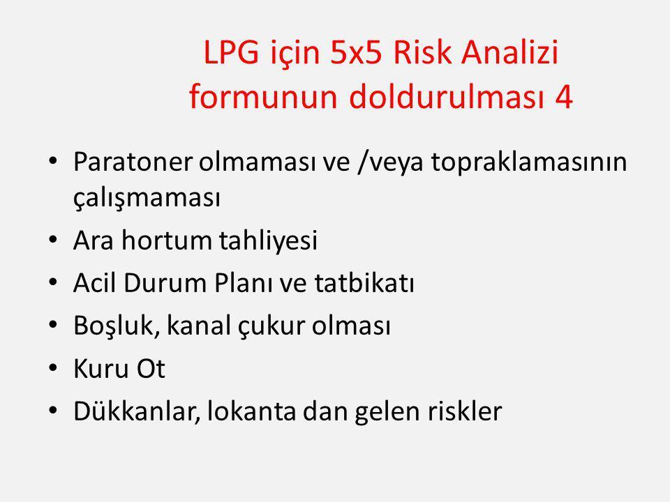 LPG için 5x5 Risk Analizi formunun doldurulması 4