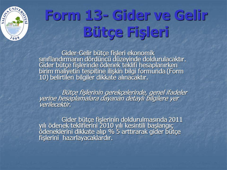 Form 13- Gider ve Gelir Bütçe Fişleri