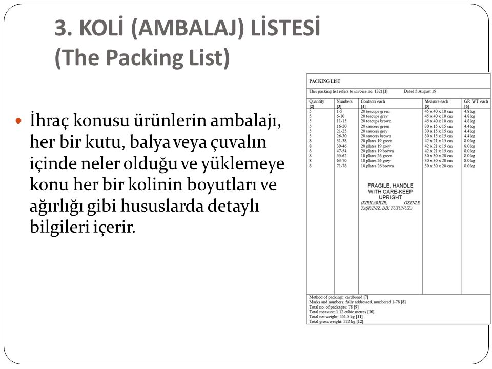 3. KOLİ (AMBALAJ) LİSTESİ (The Packing List)