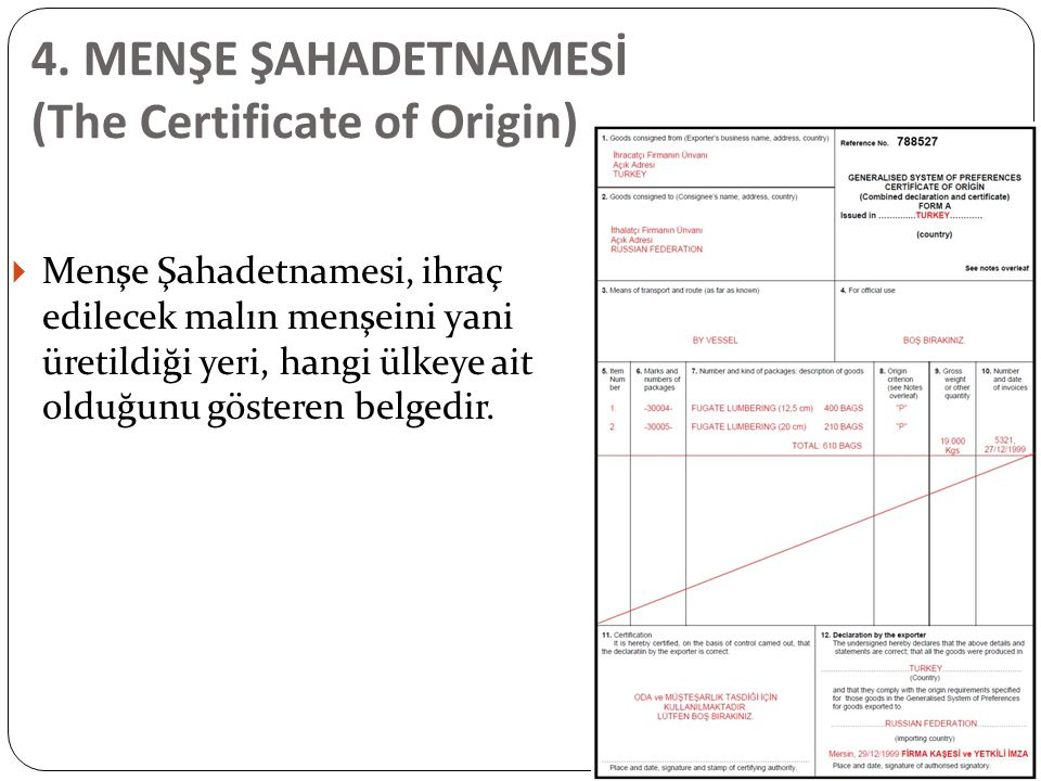4. MENŞE ŞAHADETNAMESİ (The Certificate of Origin)