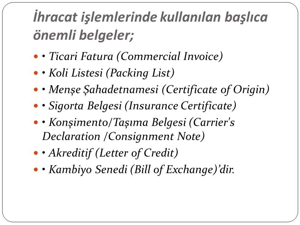 İhracat işlemlerinde kullanılan başlıca önemli belgeler;