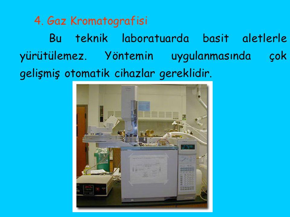 4. Gaz Kromatografisi Bu teknik laboratuarda basit aletlerle yürütülemez.