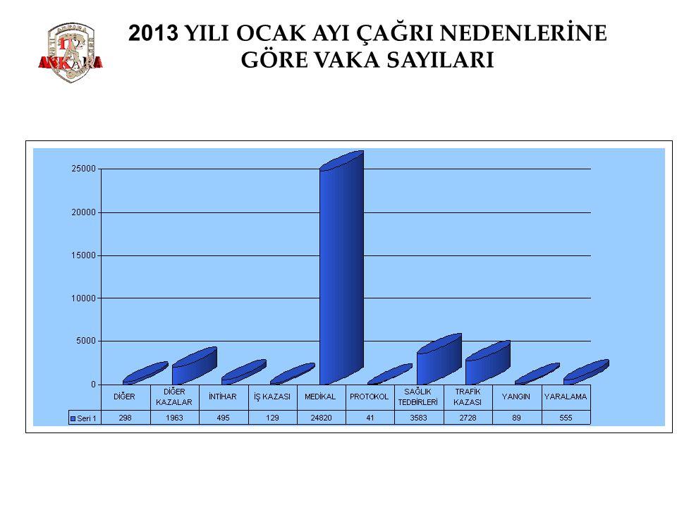 2013 YILI OCAK AYI ÇAĞRI NEDENLERİNE GÖRE VAKA SAYILARI