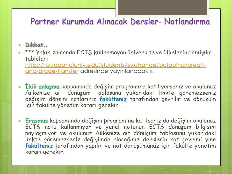 Partner Kurumda Alınacak Dersler- Notlandırma