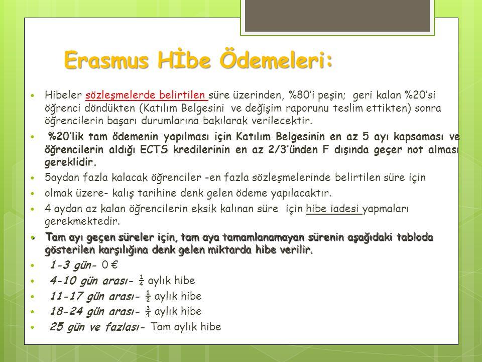 Erasmus Hİbe Ödemeleri:
