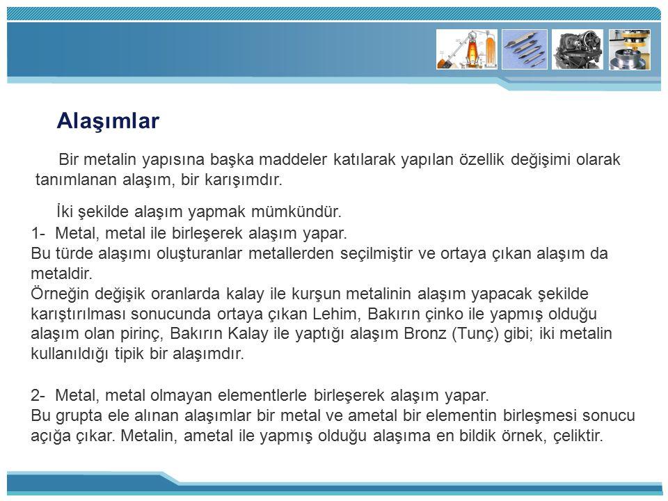 Alaşımlar Bir metalin yapısına başka maddeler katılarak yapılan özellik değişimi olarak tanımlanan alaşım, bir karışımdır.