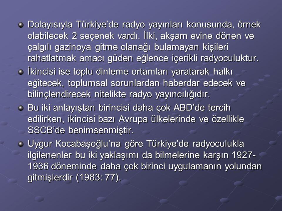 Dolayısıyla Türkiye'de radyo yayınları konusunda, örnek olabilecek 2 seçenek vardı. İlki, akşam evine dönen ve çalgılı gazinoya gitme olanağı bulamayan kişileri rahatlatmak amacı güden eğlence içerikli radyoculuktur.