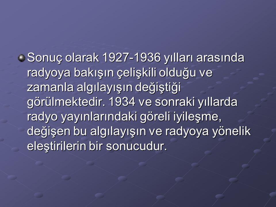 Sonuç olarak 1927-1936 yılları arasında radyoya bakışın çelişkili olduğu ve zamanla algılayışın değiştiği görülmektedir.