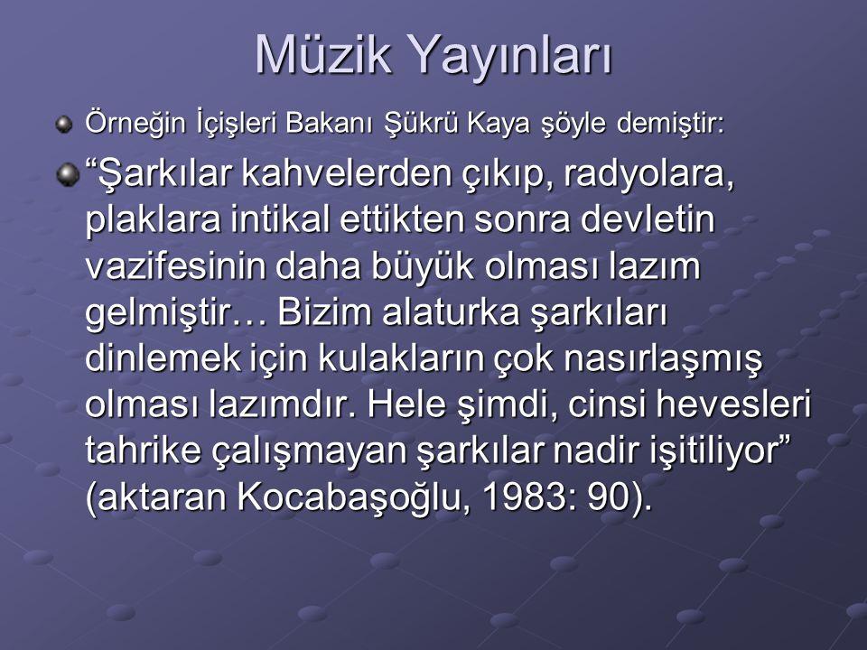 Müzik Yayınları Örneğin İçişleri Bakanı Şükrü Kaya şöyle demiştir: