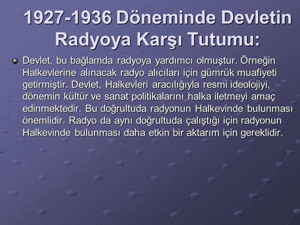 1927-1936 Döneminde Devletin Radyoya Karşı Tutumu: