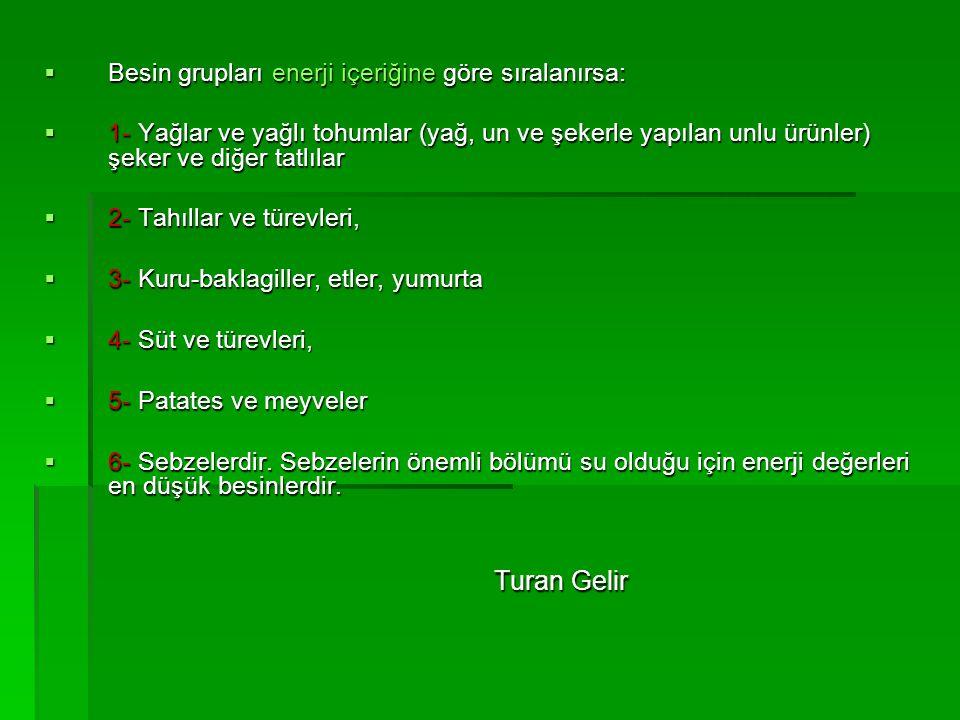 Turan Gelir Besin grupları enerji içeriğine göre sıralanırsa: