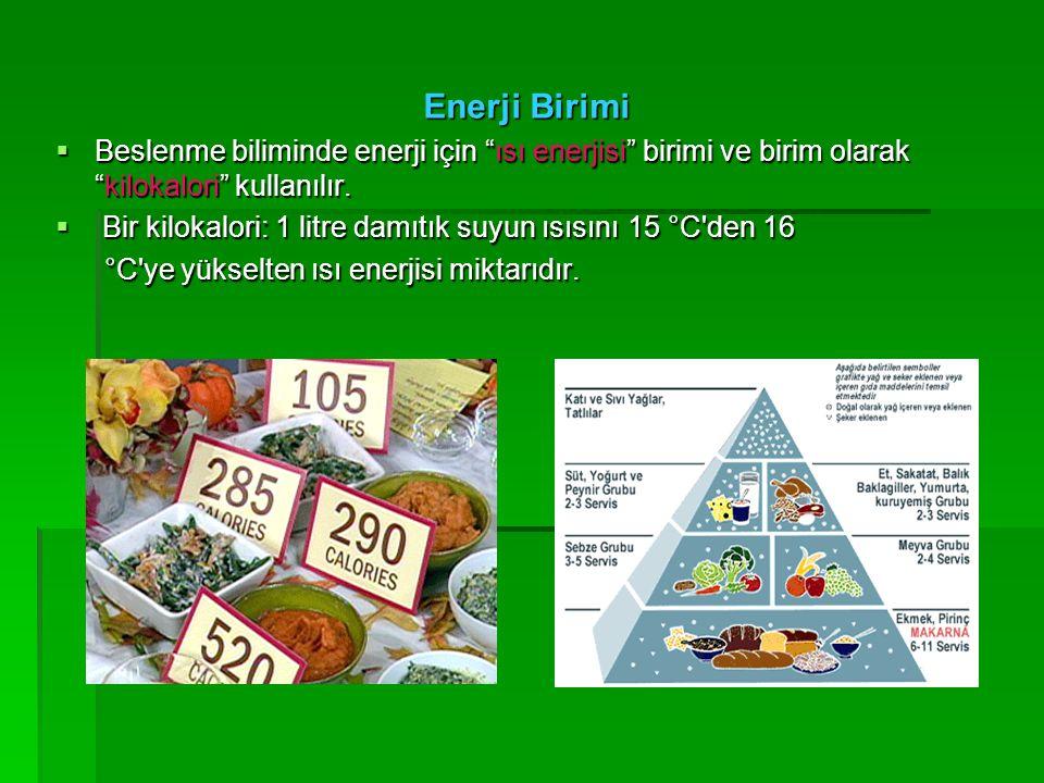 Enerji Birimi Beslenme biliminde enerji için ısı enerjisi birimi ve birim olarak kilokalori kullanılır.