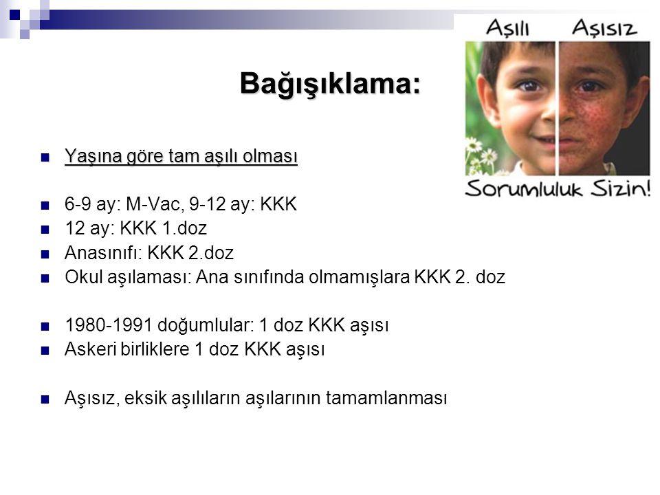 Bağışıklama: Yaşına göre tam aşılı olması 6-9 ay: M-Vac, 9-12 ay: KKK