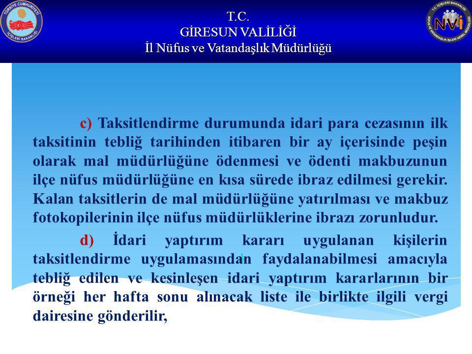 T.C. GİRESUN VALİLİĞİ İl Nüfus ve Vatandaşlık Müdürlüğü